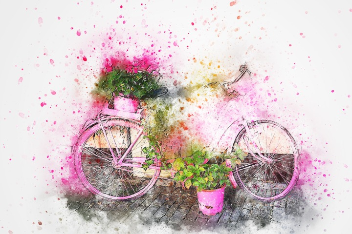 Question de point de vue: la vie en rose…à bicyclette!